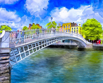 Art Print featuring the painting Spring On The Liffey - Historic Dublin by Mark E Tisdale