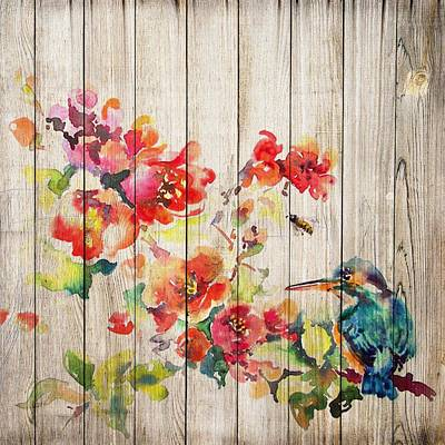 Mixed Media - Spring On Wood 04 by Aloke Creative Store