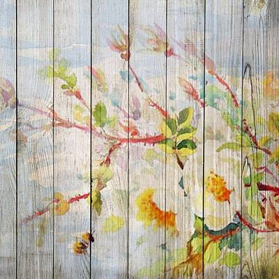 Mixed Media - Spring On Wood 05 by Aloke Creative Store