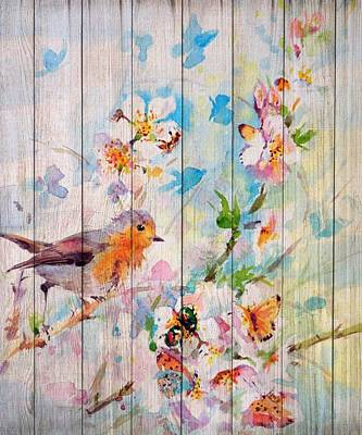 Mixed Media - Spring On Wood 06 by Aloke Creative Store