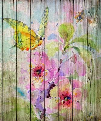 Mixed Media - Spring On Wood 07 by Aloke Creative Store