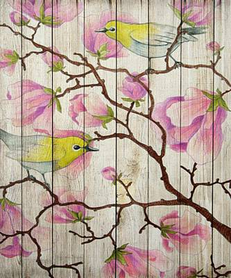 Mixed Media - Spring On Wood 08 by Aloke Creative Store