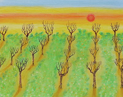 Mixed Media - Spring Orchard Sunset by Michele Myers