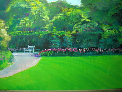 Painting - Spring Park Bench Kingwood by Judy Fischer Walton
