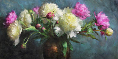 Bouquets Painting - Spring Peonies by Anna Rose Bain