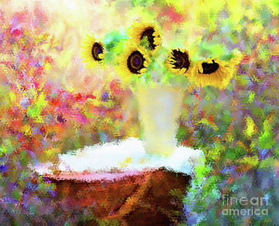 Flower Still Life Mixed Media - Spring Picnic by KaFra Art