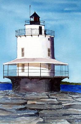 Spring Point Ledge Light Art Print by Anne Trotter Hodge