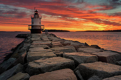 Portland Lighthouse Photograph - Spring Point Ledge Light At Sunrise by Jeff Bazinet