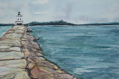 Maine Spring Painting - Spring Point Ledge Lighthouse by Kellie Chasse