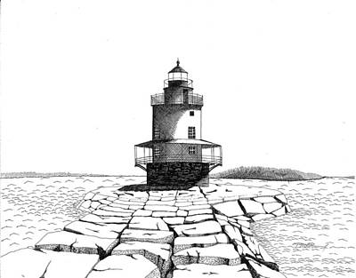 Maine Landscapes Drawing - Spring Point Ledge Lighthouse by Tim Murray