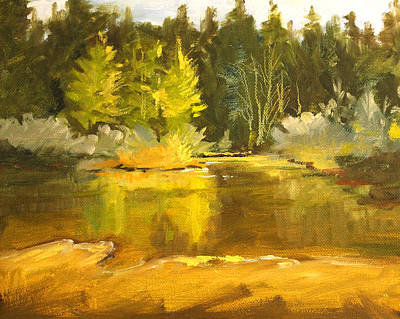 Painting - Spring Pond Landscape by Nancy Merkle