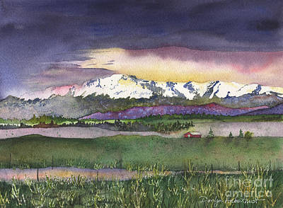 Pikes Peak Painting - Spring Rain At Pikes Peak by Donlyn Arbuthnot