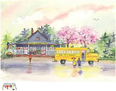 School Bus Painting - Spring Rain by Melody Allen
