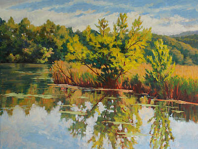 Meadow Willows Painting - Spring Reflection by Keith Burgess