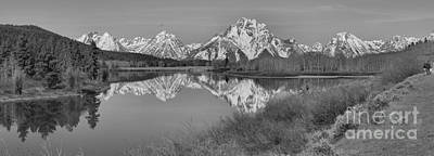Spring Reflections At Oxbow Bend Black And White Art Print by Adam Jewell