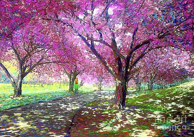 Sun Wall Art - Painting - Spring Rhapsody, Happiness And Cherry Blossom Trees by Jane Small