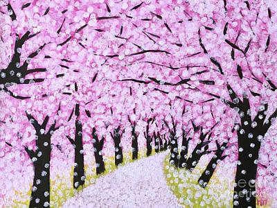 Cherry Blossoms Painting - Spring Road  by Wonju Hulse