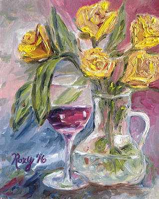 Yellow Painting - Spring Romance by Roxy Rich