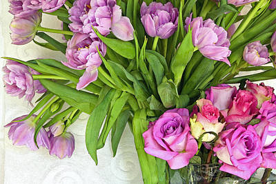 Spring Roses And Tulips Art Print by Margaret Hood