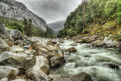 Photograph - Spring Rushing Waters Merced River Yosemite National Park by Wayne Moran