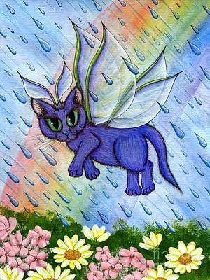 Art Print featuring the painting Spring Showers Fairy Cat by Carrie Hawks