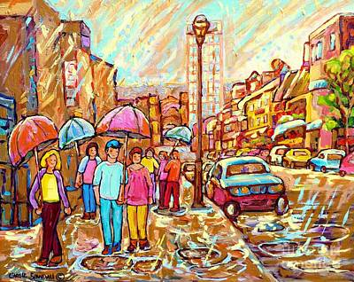Montreal Memories. Painting - Spring Showers In The City Rainy Umbrella Day Canadian Street Scene Painting Carole Spandau          by Carole Spandau