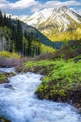Springtime Photograph - Spring Snow Melt Wasatch Mountains Utah by Utah Images