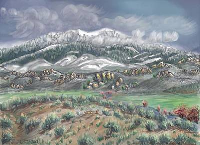 Drawing - Spring Snow On The Peak by Dawn Senior-Trask