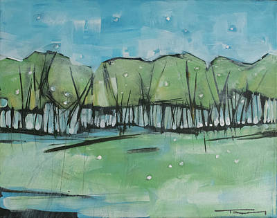 Painting - Spring Snow Treeline by Tim Nyberg