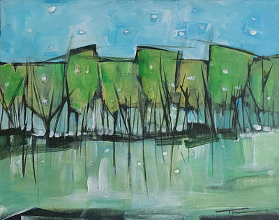 Painting - Spring Snow Wineglass Trees by Tim Nyberg