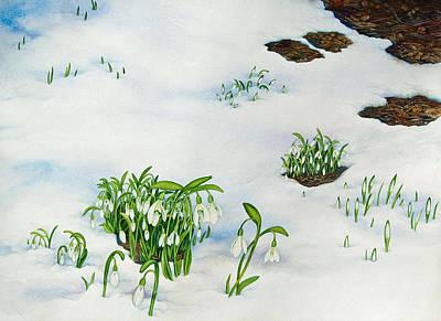 Painting - Spring Snowdrops by Helen Klebesadel