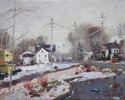 Village Painting - Spring Snowfall by Ylli Haruni