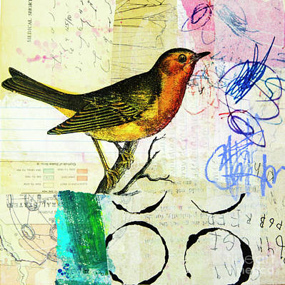 Robin Mixed Media - Spring Song by Elena Nosyreva
