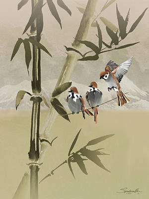 Digital Art - Spring Sparrows In Bambboo Tree by IM Spadecaller