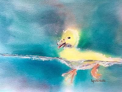 Ducks In Watercolor Painting - Spring Splash by Lynda Nolte