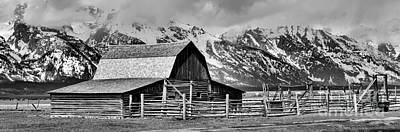 Spring Storm Clouds At The Moulton Barn Black And White Art Print by Adam Jewell
