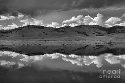 Photograph - Spring Storms Over Slough Creek Black And White by Adam Jewell