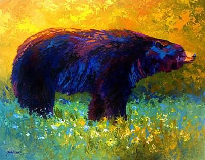Spring Stroll - Black Bear Art Print by Marion Rose