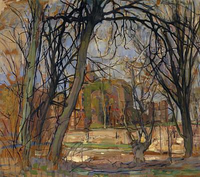 Ruin Painting - Spring Sun, Lentezon - Castle Ruin Brederode by Piet Mondrian
