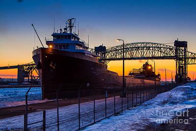 Sault Ste Marie Photograph - Spring Sunrise At Soo Locks   Lee A Tregurtha 5627 by Norris Seward