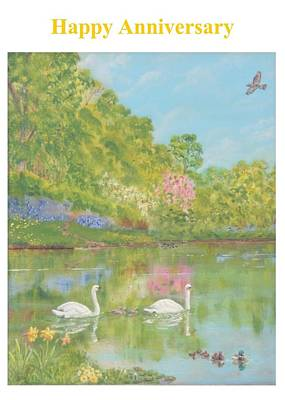 Spring Swans Anniversary Card Art Print by David Capon