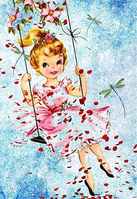 Child Swinging Mixed Media - Spring Swing 2 by Tammera Malicki-Wong