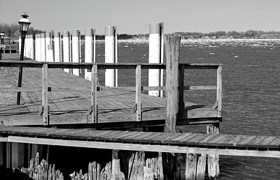 Photograph - Spring Thaw And Old Dock Bw by Mary Bedy
