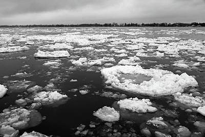 Photograph - Spring Thaw On The St. Clair River 2 Bw by Mary Bedy