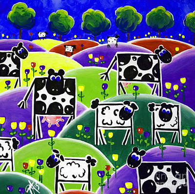 Painting - Spring Time Mixed Herd Milk Cows Sheep by Jackie Carpenter