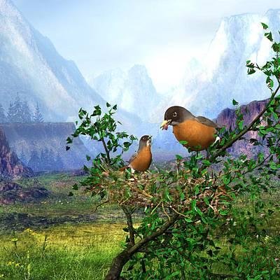 Animals Digital Art - Spring Time Robins by John Junek