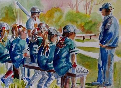 Softball Painting - Softball Ponny Tails by Linda Emerson