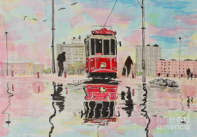 Tram Red Painting - Spring Tram by Marya Patapovich