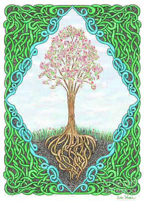 Drawing - Spring Tree With Knotted Roots And Knotted Border by Lise Winne