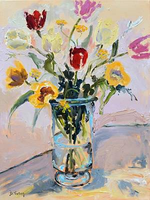 Painting - Spring Tulip Bouquet Still Life by Donna Tuten